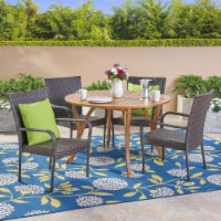 Lance Outdoor 5 Piece Acacia Wood and Wicker Dining Set
