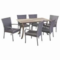 Robin Outdoor 7 Piece Wood and Wicker Dining Set, Gray and Gray - 1 unit