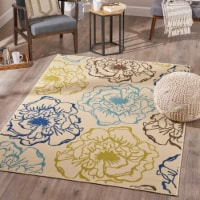 Joe Indoor Floral 5 x 8 Area Rug, Ivory and Green - 1 unit
