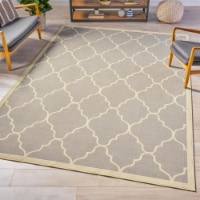 Norman Indoor Geometric  Area Rug, Grey and Ivory