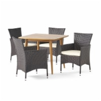 Knox Outdoor 5 Piece Wood and Wicker Dining Set, Teak and Multi Brown - 1 unit