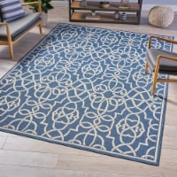 Alfonso Indoor Geometric  Area Rug, Navy and Ivory - 1 unit