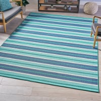 Philip Indoor Geometric  Area Rug, Blue and Green