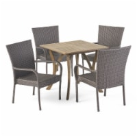 Benson Outdoor 5 Piece Wood and Wicker Square Dining Set, Gray and Gray