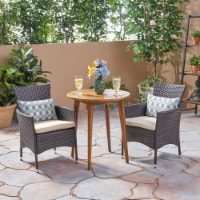 Land Outdoor 3 Piece Wood  and Wicker Bistro Set - 1 unit