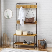 Kay Indoor Industrial Acacia Wood Bench with Shelf and Coat Hooks - 1 unit