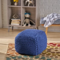 Knox Knitted Cotton Pouf - 1 unit