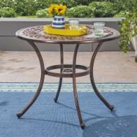Jamie Outdoor Round Cast Aluminum Dining Table, Shiny Copper - 1 unit