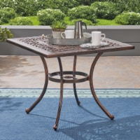Jamie Outdoor Square Cast Aluminum Dining Table, Shiny Copper - 1 unit