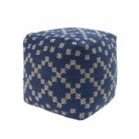 Alice Cube Pouf, Boho, Blue and White Yarn - 1 unit