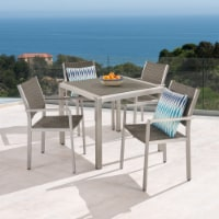 Julia Patio Dining Set - 4-Seater - Anodized Aluminum - Wicker Seats - 1 unit