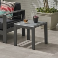 Giovanna Coral Outdoor Aluminum Side Table with Glass Top