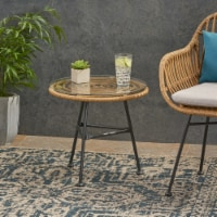 Rodney Outdoor Woven Faux Rattan Side Table with Glass Top