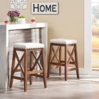 Nancy Contemporary Farmhouse Upholstered Fabric Barstools (Set of 2)