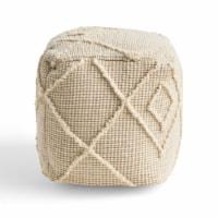 Erin Boho Wool and Cotton Ottoman Pouf - 1 unit