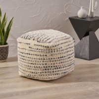 Leila Boho Wool and Cotton Ottoman Pouf - 1 unit
