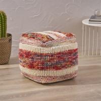 Ivy Boho Wool and Cotton Ottoman Pouf - 1 unit
