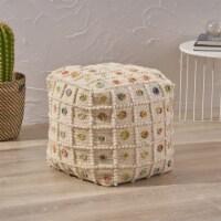 Jocelyn Boho Cube Wool and Cotton Pouf - 1 unit