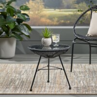 Christina Outdoor Modern Faux Rattan Side Table with Tempered Glass Top