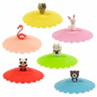 Wrapables Silicone Cup Lids, Anti-Dust Covers for Beverages (Set of 6), Cute Animal - 6 Pieces
