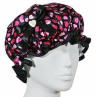 Kella Milla Stylish Satin Shower Cap, Hearts & Black Bow - 1