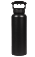 Fifty/Fifty Vacuum Insulated Stainless Steel Water Bottle & 3-Finger Grip Cap - Black