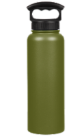 Fifty/Fifty Vacuum Insulated Stainless Steel Water Bottle & 3-Finger Grip Cap - Olive Green