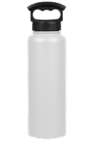Fifty/Fifty Vacuum Insulated Stainless Steel Water Bottle & 3-Finger Grip Cap - Winter White