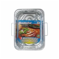 Home Plus 6392021 11.87 x 16.62 in. Durable Foil Roaster Pan with Handles - Silver- pack of 1