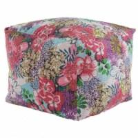 LR Resources POUFS99723MLT2420 Kantha Floral Square Pouf - Pink & Blue