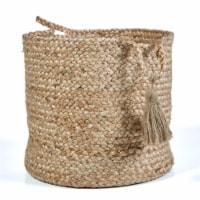 LR Resources BASKE16016NBH017H Montego Jute Decorative Cylinder Storage Basket - Natural
