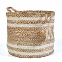 LR Resources BASKE16017NBH017H Montego Striped Jute Decorative Cylinder Storage Basket - Natu - 1