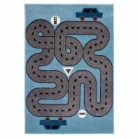 LR Home WHIMS81266SLB5070 Whimsical Racing Roadways Indoor Area Rug, Soft Blue & Light Blue - - 1