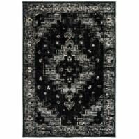 LR Home INFIN81308BKG5272 Infinity Geometric Oriental Indoor Area Rug, Black & Gray - 5 2 x 7