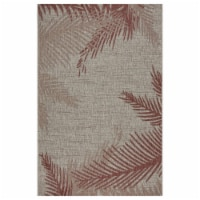 LR Home CAPTI81023REE5070 5 x 7 ft. Captiva Blushing Palms Indoor & Outdoor Area Rug, Red & B - 1