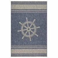 LR Home CAPTI81025NVG7995 7 9 x 9 ft. 5 in. Captiva Nautical Helm Indoor & Outdoor Area Rug, - 1