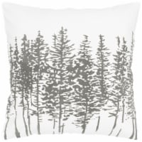 18 In. X 18 In. Off-white Decorative Pillow With Fern Pattern - 18 Inches x 18 Inches