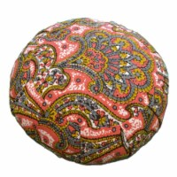 Yoga Accessories Zafu Thick 6 Inch Round Yoga Meditation Cushion, Red and Gold - 1 Piece