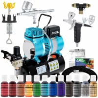 Cake Decorating Airbrushing System Kit with 12 Food Coloring Set - 2 Airbrushes, Compressor - Bundle