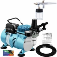Airbrushing System Kit Siphon Feed Airbrush 0.35 mm Tip, 3/4 oz Cup, Dual Fan Air Compressor - Airbrush System