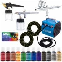 Cake Decorating G22, S68, E91 Airbrush Kit, Compressor, Hoses & 12 Food Coloring Set - Bundle