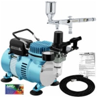 Dual-Action Side Feed Airbrush Set with Dual Fan Air Compressor Kit, 0.2mm Tip, 1/2oz Cup - Bundle