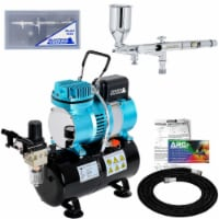 Dual-Action Side Feed Airbrush Set with Dual Fan Air Tank Compressor, 0.2mm Tip, 1/2oz Cup - Bundle