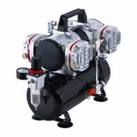 4 Cylinder Piston Airbrush Air Compressor with Air Storage Tank, Regulator & Water Trap - Compressor