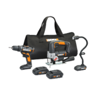 Worx WX958L 3pc Combo Kit w/ 20V Drill, Jigsaw and Flex (Snake) light - EA