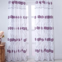 RT Designers Collection PNS19146 Sapphire Floral Embroidered Rod Pocket Single Curtain Panel - 1