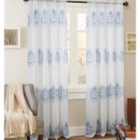 Olivia Gray PNB21208 54 x 84 in. Bergen Floral Embroidered Single Rod Pocket Curtain Panel, B - 1