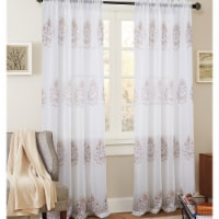 Olivia Gray PNB21290 54 x 84 in. Bergen Floral Embroidered Single Rod Pocket Curtain Panel, T - 1