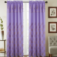 Olivia Gray PNB23746 54 x 90 in. Burton Floral Embroidered Single Rod Pocket Curtain Panel Wi - 1