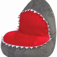 Trend-Lab 103402 21 x 19 x 19 in. Childrens Plush Shark Character Chair, Gray, Red & White - 1